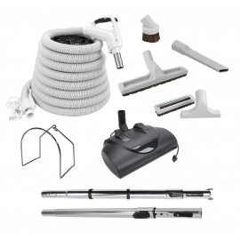 Central Vacuum Kit - 35' (10 m) - Power Nozzle - Floor Brush - Dusting Brush - Upholstery Brush - Crevice Tool - 2 Telescopic Wand - Metal Hose Rack