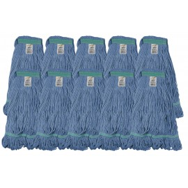 Ensemble de 10 têtes de vadrouille / moppe synthétique de rechange - bleue