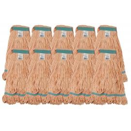 Ensemble de 10 têtes de vadrouille / moppe synthétique de rechange - orange