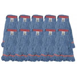 Ensemble de 10 têtes de vadrouille / moppe synthétique de rechance - format moyen - bleu