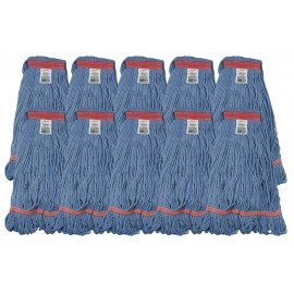 Set of 10 String Mop Replacement Heads - Medium Size - Synthetic Washing Mops - Blue