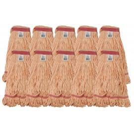 Ensemble de 10 têtes de vadrouilles / moppe synthétique de rechange - format moyen - orange