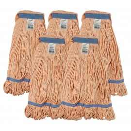 Set of 5 String Mop Replacement Heads / Synthetic Washing Mops - Small Size - Orange