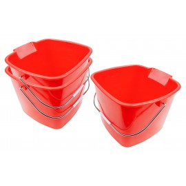 Pack of 3 Household Buckets - 11 qt Capacity - Plastic - Red