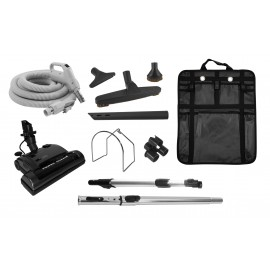 Central Vacuum Kit - 50' (15 m) Electrical Hose - Power Nozzle - Floor Brush - Dusting Brush - Upholstery Brush - Crevice Tool - Telescopic Wand - Storage Bag - Hose and Tools Hangers