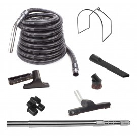 Central Vacuum Kit - 35' (9 m) Hose - Floor Brush - Dusting Brush - Upholstery Brush - Crevice Tool - Telescopic Wand - Metal Hose Hanger - Tool Caddy