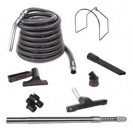 Ensemble d'accessoires pour aspirateurs centraux - boyau de 10 m (35') - brosse à plancher - brosse à épousseter - brosse pour meubles - outil de coins - manchon télescopique - support métallique pour boyau - support à outils