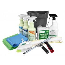 Ensemble ménage du printemps par Johnny Vac avec seau, produits et accessoires pour nettoyage complet - lavage de vitres - salle de bain - produits certifiés Écologo