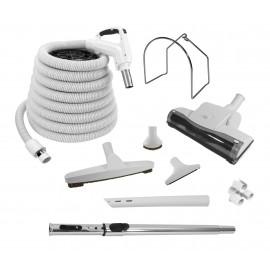 Ensemble d'accessoires pour aspirateur central - boyau électrique de 12,2 m (40') avec poignée ergonomique - balai à air - brosse à plancher - brosse à épousseter - brosse pour meubles - outil de coin - manchon télescopique - support en métal pour boyau