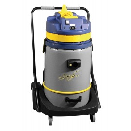 Wet & Dry Commercial Vacuum - Capacity of 16 gal (60.5 L) - Tank on Trolley - Electrical Outlet for Power Nozzle - 10' (3 m) Hose - Plastic and Aluminum Wands - Brushes and Accessories Included - IPS ASDO07416