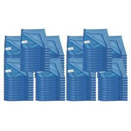 Chiffon en microfibre pour nettoyer les vitres - 14'' x 14'' (35,5 cm x 35,5 cm) - bleu - paquet de 100