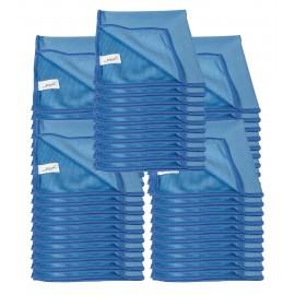Chiffon en microfibre pour nettoyer les vitres - 14'' x 14'' (35,5 cm x 35,5 cm) - bleu - paquet de 50
