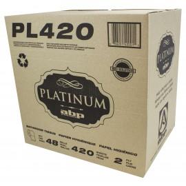 Papier hygiénique - 2 épaisseurs - boîte de 48 rouleaux de 420 feuilles - blanc - Platinum PL420