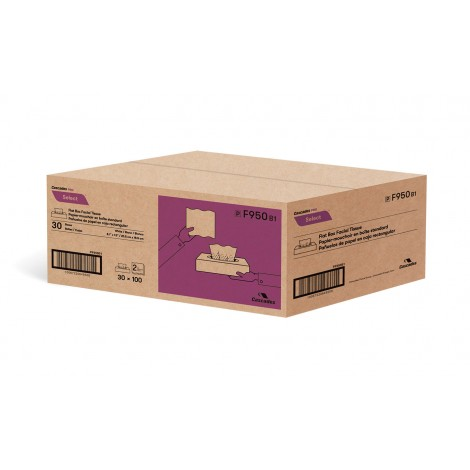 """Facial Tissue - 2-Ply - 8.1"""" x 7.3"""" (20.8 cm x 18.7 cm) - Package of 30 Boxes of 100 Sheets - White - Cascades Pro F950"""