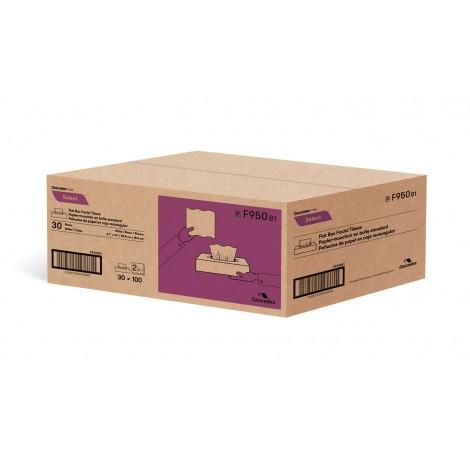 """Papier mouchoir - 2 épaisseurs - 8,1"""" x 7,3"""" (20,8 cm x 18,7 cm) - emballage de 30 boites de 100 feuilles - blanc - Cascades Pro F950"""