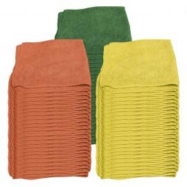 Pack of 75 Multi-Purpose Microfiber Cloths - 16'' x 16'' (40.6 cm x 40.6 cm) - Yellow, Orange & Green