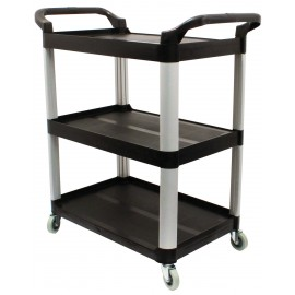 "Service / Utility Cart - 3 Shelves - 4 Swivel Casters / Wheels - Black - Weight 29.9 lb (13.6 kg) - Dimensions 33"" X 17"" X 37.5"" (83.8 cm X 43.2 cm X 95.3 cm) REFURBISHED"