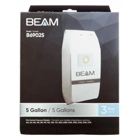 Sacs en papier pour aspirateur central Beam 167 / 2067 - 5 gallons - paquet de 3 sacs