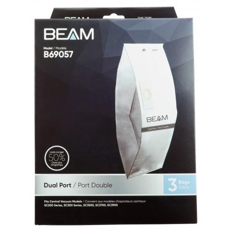 Sacs en papier pour aspirateurs centraux Beam à deux ouvertures - paquet de 3 sacs