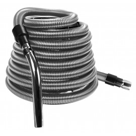 Flexible Hose for Central Vacuum - 40' (12,19 m) Long - with Metal Handle - Silver