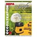 Sac microfiltre HEPA pour aspirateur commercial Johnny Vac JV5 et Ghibli AS5 - paquet de 5 sacs