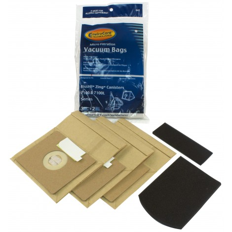 Paper Bag for Bissell Zing 7100 and 7100L Vacuum - Pack of 3 Bags + 2 Filters - Envirocare 842