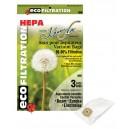 MICROFILTER HEPA VACUUM BAGS - BEAM - EUREKA - ELECTROLUX - ASPIRTECH- KENMORE - PKG/3