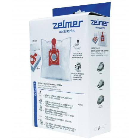 Sac HEPA pour aspirateur chariot Zelmer VC3000, VC4000 et VC5000 - paquet de 4 sacs + 1 filtre