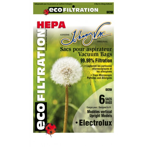 HEPA Microfilter Bag for Electrolux Upright Vacuum - Pack of 6 Bags - Envirocare 138HJV