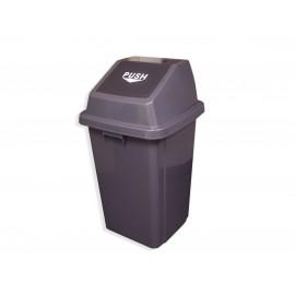 Trash Garbage Can Bin with Push Down Lid - 26 gal (1000 L) - BIN100 - Grey and Black