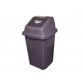 Rectangular Garbage Can with Push down Lid 100 L / 26 Gal Black & Gray