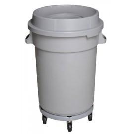 Poubelle ronde avec couvercle - socle avec roues - 20 gal (88 L) - gris pale