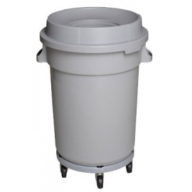 Round Trash Garbage Can Bin with Lid - Drum Dolly - 20 gal (88L) - Light Grey