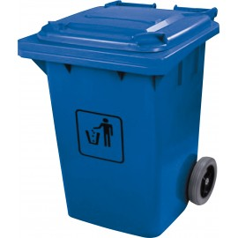 Trash Garbage Can Bin with Lid - on Wheels - 63.4 gal (240 L) . Blue