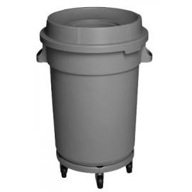 Round Trash Garbage Can Bin with Lid - Drum Dolly - 32 gal (145 L) - Grey