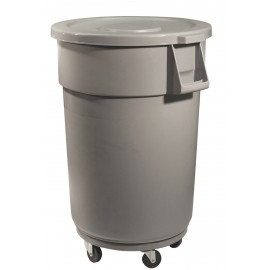 ROUND GARBAGE CAN WITH LID - WHEELS BASE - 44 GAL / 167 L MEDIUM GREY