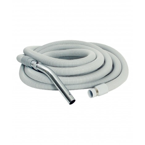 "Hose for Central Vacuum - 30' (9 m) - 1 3/8"" (35 mm) dia - Grey - Straight Handle - Button Lock - Econo"