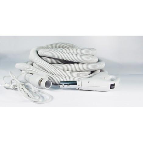 """Boyau électrique pour aspirateur central - 9 m (30') - 32 mm (1 1/4"""") dia - gris - poignée pompe à gaz - bouton-barrure - Plastiflex SE13011430BCUR"""