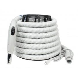 """Electric Hose for Central Vacuum - 35' (10 m) - 1 1/4"""" (32 mm) dia - Grey - Gas Pump Handle - On/Off Button - Power Nozzle Compatible - Button Lock - Value Flex Plastiflex SV130114035BCU"""