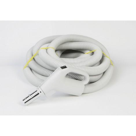 """Boyau pour aspirateur central - 7 m (25') - 35 mm (1 3/8"""") dia - gris - poignée pompe à gaz - bouton marche/arrêt - bouton-barrure - Plastiflex XZ130138025BU"""