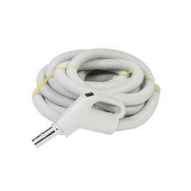 "Hose for Central Vacuum - 35' (10 m) - 1 3/8"" (35 mm) dia - Silver - Gas Pump Handle - On/Off Button - Button Lock - Plastiflex XZ130138035BU3"