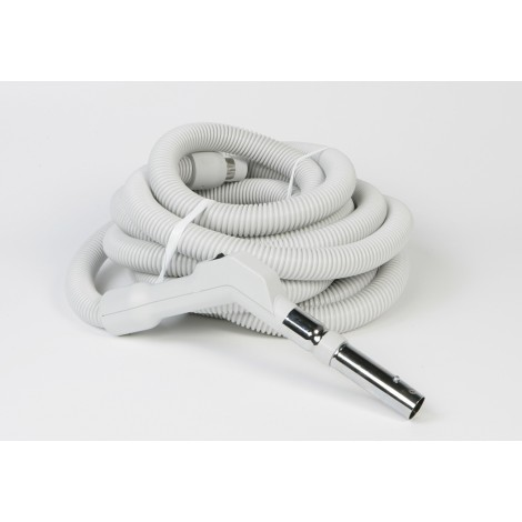 "Hose for Central Vacuum - 40' (12 m) - 1 3/8"" (35 mm) dia - Grey, Curved Handle - On/Off Button - Button Lock - Plastiflex XE130138040BU3"
