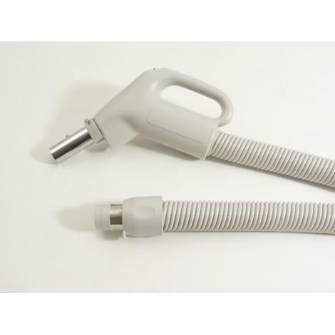 """Boyau pour aspirateur central - 12 m (40' ) - 35 mm (1 3/8"""") dia - gris - poignée pompe gaz - bouton marche/arrêt - bouton barrure - Plastiflex XZ130138040BU"""