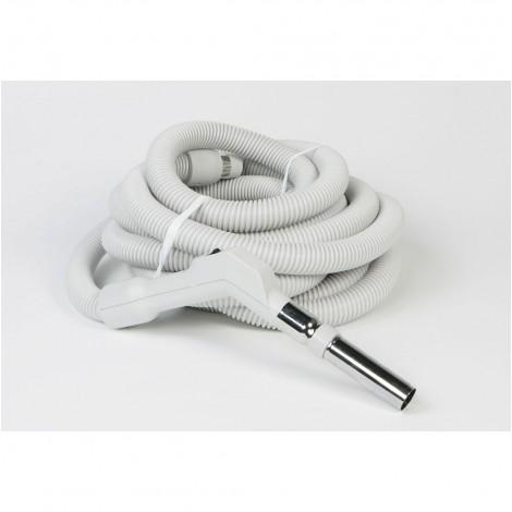 """Boyau pour aspirateur central - 14 m (45') - 35 mm (1 3/8"""") dia - gris - poignée courbée - bouton marche/arrêt - Electriflex - Plastiflex XE130138045FU"""