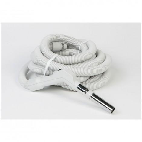 """Boyau pour aspirateur central - 15 m (50') - 35 mm (1 3/8"""") dia - gris - poignée courbée - bouton marche/arrêt - Electriflex - Plastiflex XE130138050FU"""