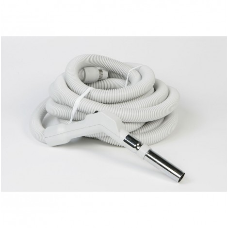 "Hose for Central Vacuum - 50' (15 m) - 1 3/8"" (35 mm) dia - Grey - Curved Handle - On/Off Button - Electriflex - Plastiflex XE130138050FU"