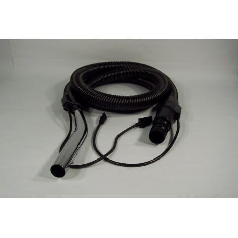 """Boyau électrique pour aspirateur commercial - 2,43 m (8') - 32 mm (1 1/4"""") dia - noir - poignée courbée - bouton-barrure - JV5"""