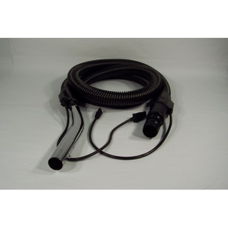 "Hose for Commercial Vacuum - 8' (2,43 m) - 1 1/4"" (32 mm) dia - Black - Curved Handle - Button Lock - JV5"