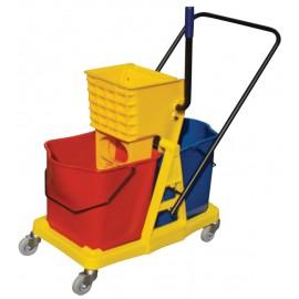 Chariot mobile avec seaux et tordeur à pression latérale - 12 gal (46 L) - rouge, bleu et jaune