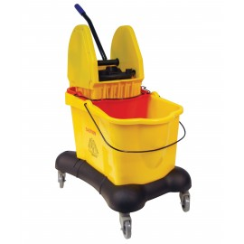 Downpress Wringer with Double Buckets - 13.4 gal (61L) - on Swivel Wheels - Yellow
